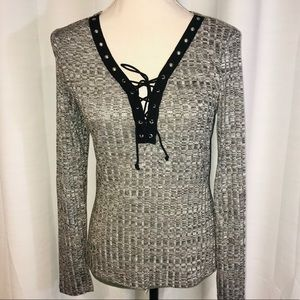 NWT gray Poetry long sleeve v neck top lace up